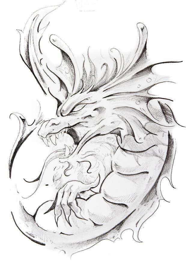 Esboço do tatuagem do dragão medieval ilustração royalty free