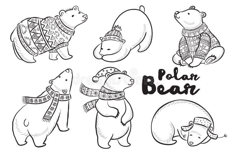 Esboço do vetor ajustado com ursos polares ilustração do vetor