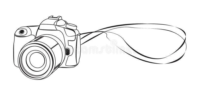 Esboço do vetor da câmera de DSLR ilustração royalty free