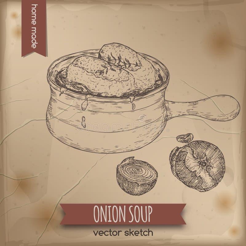 Esboço do vetor da sopa da cebola do vintage colocado no fundo de papel velho ilustração stock