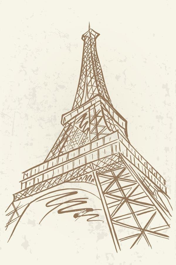 Esboço do vetor da torre de Eifel ilustração royalty free