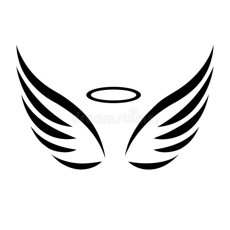Esboço do vetor das asas do anjo ilustração do vetor