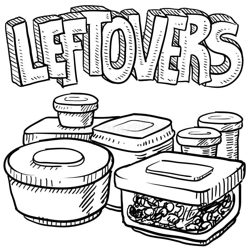 Esboço do vetor do alimento das sobras do feriado