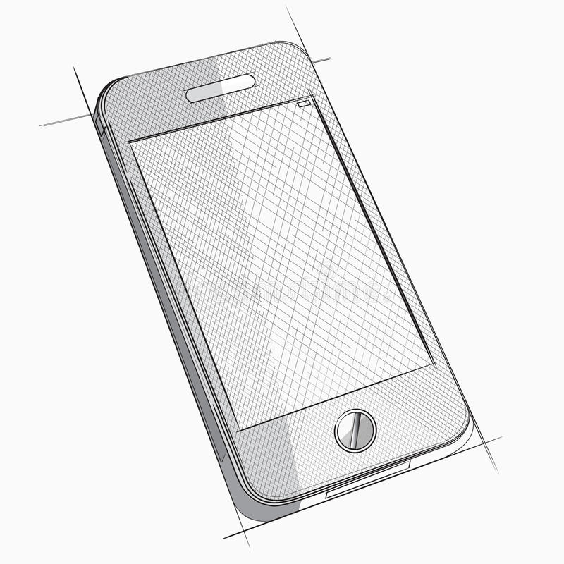 Esboço do vetor do telefone celular ilustração do vetor