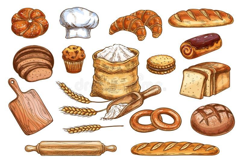 Esboço do vetor dos bolos do pão e da pastelaria da padaria ilustração do vetor