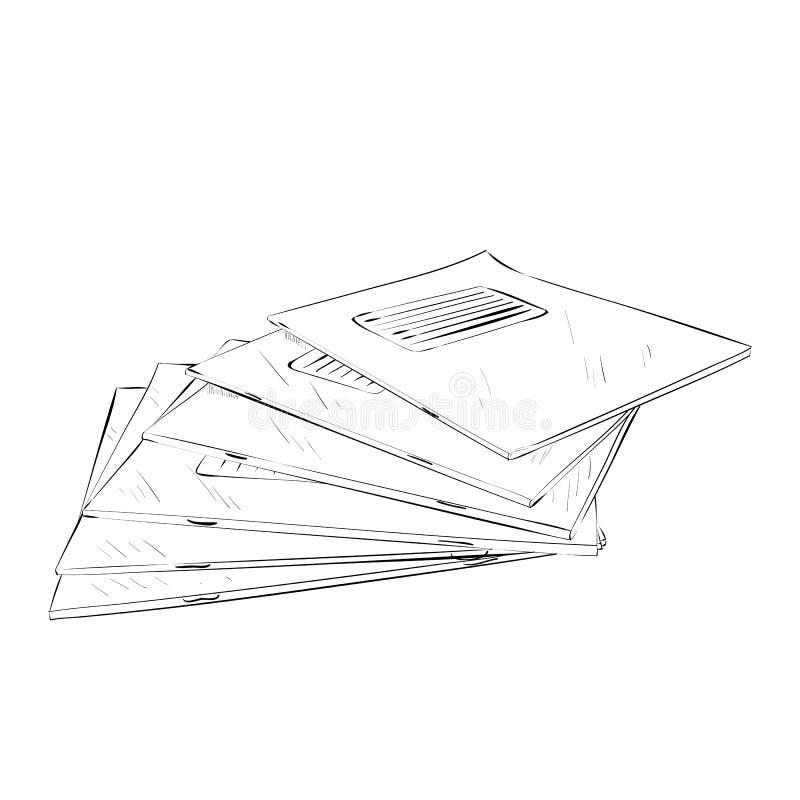 Esboço do vetor dos cadernos ilustração royalty free