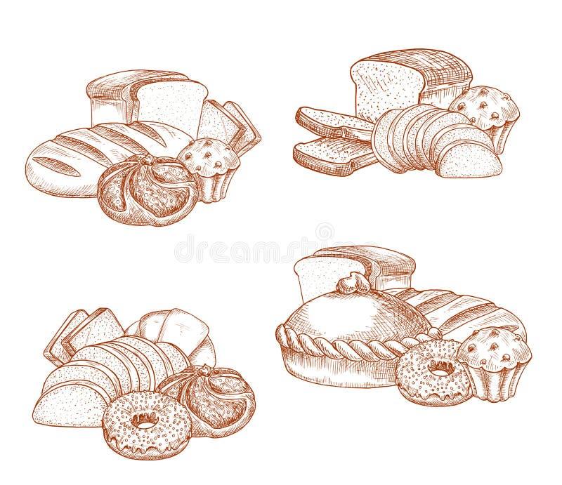 Esboço do vetor do pão e da padaria ou da pastelaria ilustração do vetor
