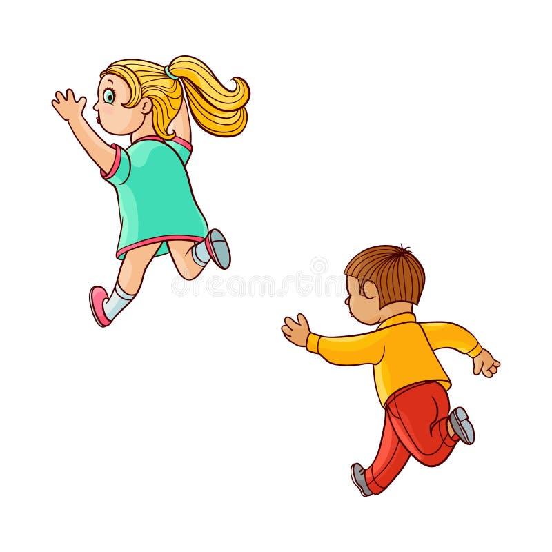 Esboço do vetor que corre as crianças ranaway ajustadas ilustração royalty free