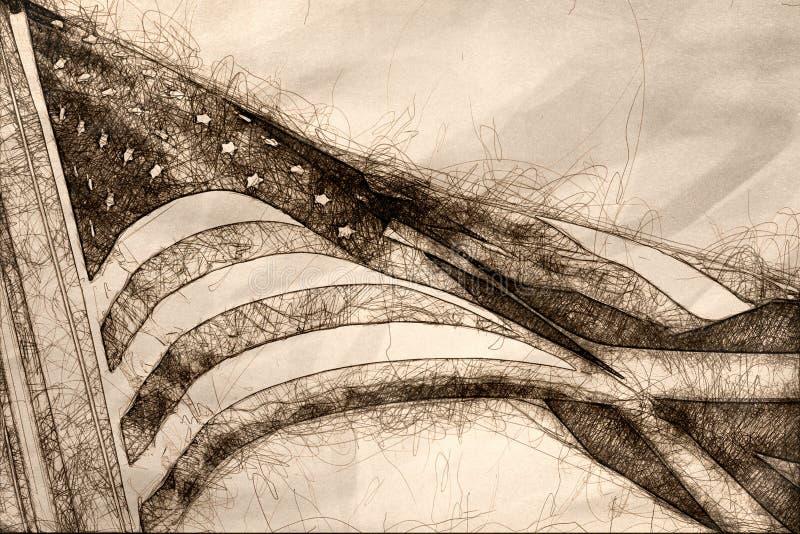 Esboço do voo da bandeira americana alto, orgulhoso e livre ilustração do vetor