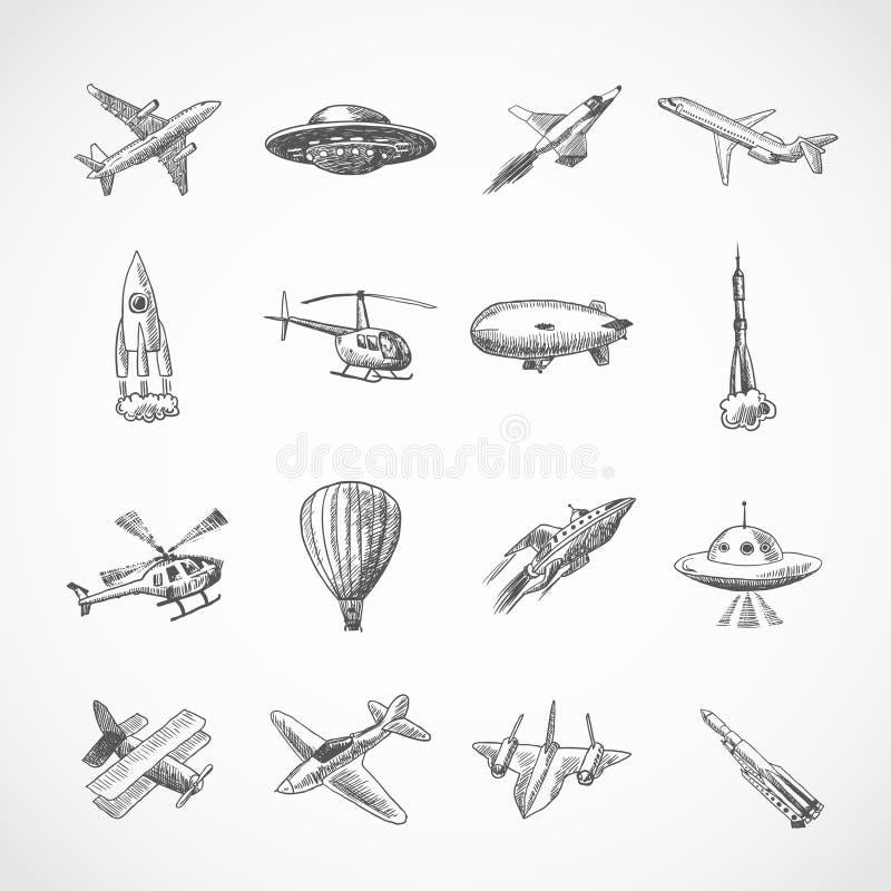 Esboço dos ícones dos aviões ilustração stock