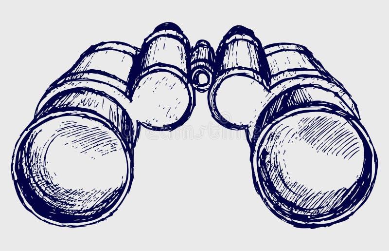 Esboço dos binóculos ilustração royalty free