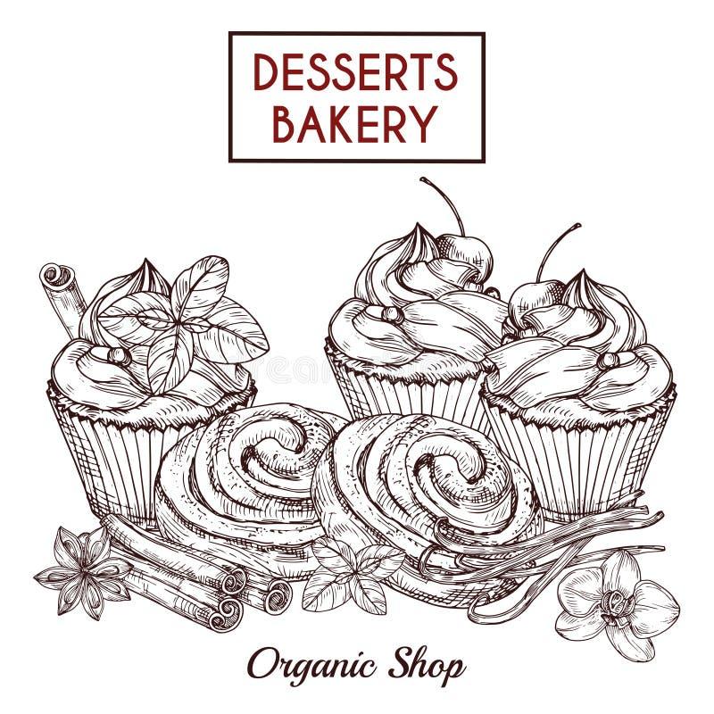 Esboço dos bolos e os bolos e as especiarias, fundo do vetor da padaria das sobremesas ilustração do vetor
