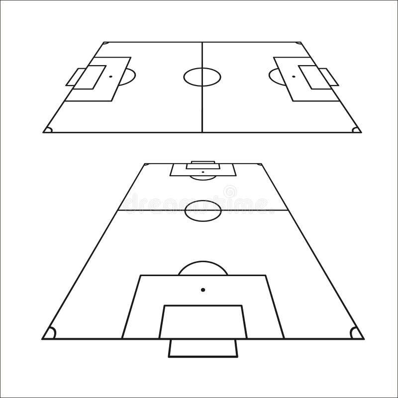 Esboço dos campos de futebol ajustados Elemento do projeto do campo de futebol Molde da opinião superior de campo de futebol Veto ilustração royalty free