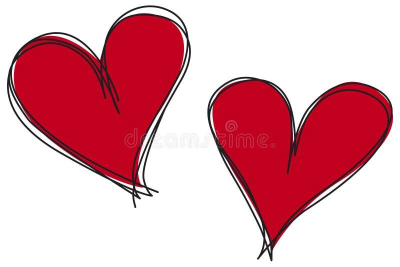 Esboço dos corações ilustração do vetor