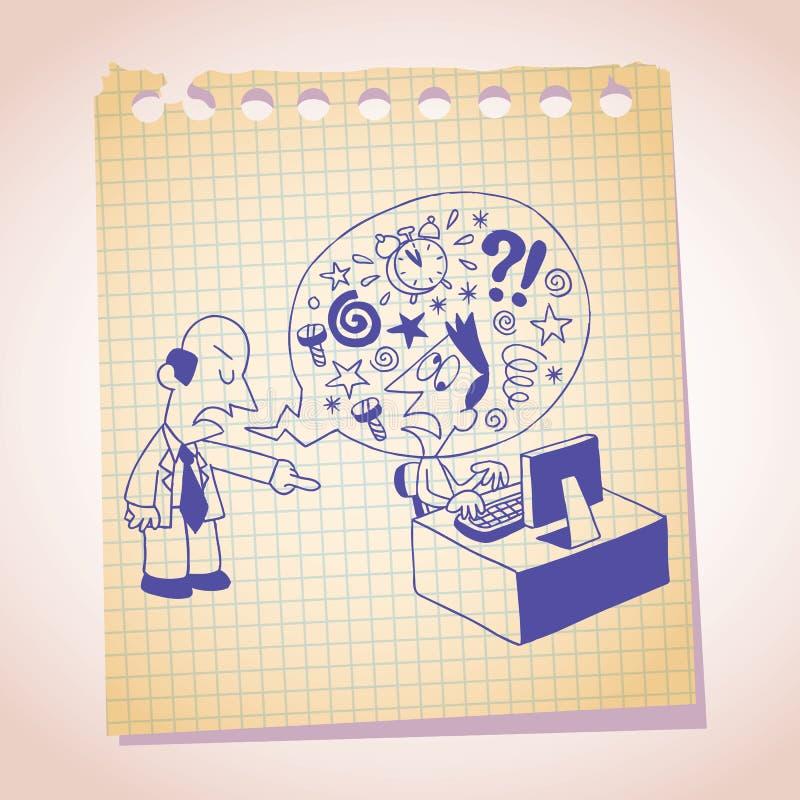 Esboço dos desenhos animados do papel de nota do conceito do chefe e do empregado ilustração do vetor