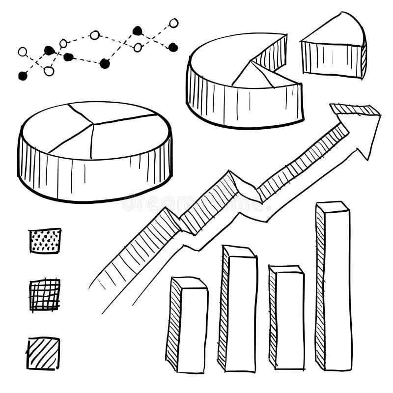 Esboço dos elementos do gráfico e da carta ilustração do vetor