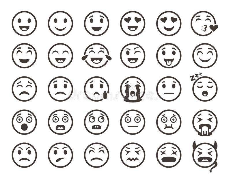 Esboço dos Emoticons Emoji enfrenta a linha engraçada ícones do vetor do sorriso do emoticon ilustração do vetor