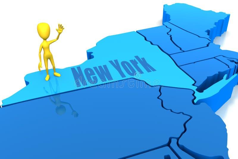 Esboço dos Estados de Nova Iorque com figura amarela da vara ilustração stock