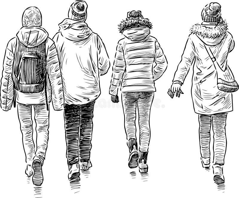 Esboço dos estudantes de passeio ilustração royalty free
