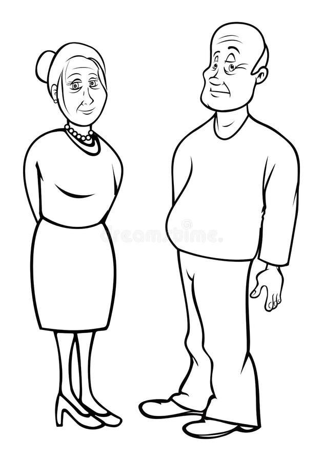 Esboço dos Grandparents ilustração do vetor