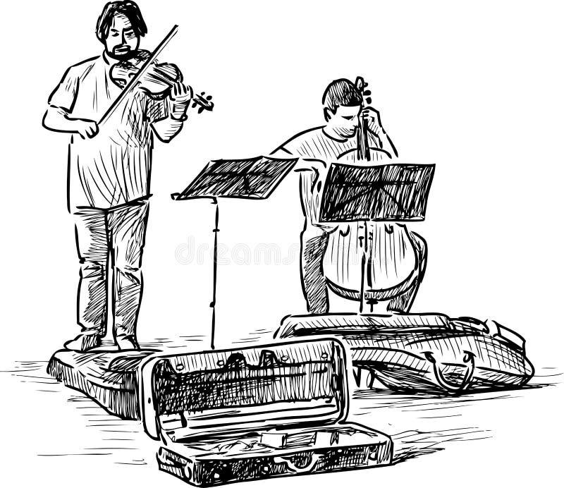 Esboço dos músicos da rua que jogam o violino e o violoncelo ilustração royalty free