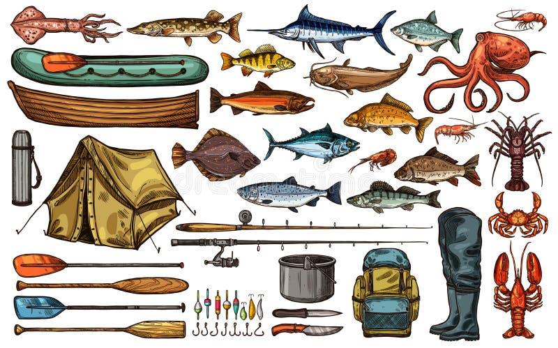 Esboço dos peixes do troféu do equipamento e do pescador de pesca ilustração stock