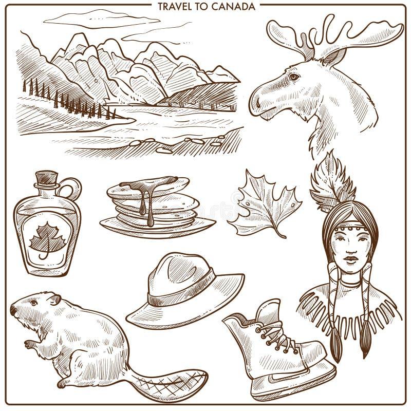 Esboço dos símbolos dos marcos e da cultura do turismo do curso de Canadá ilustração stock