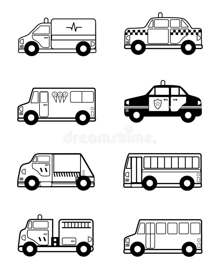 Esboço dos veículos do brinquedo da criança ilustração royalty free