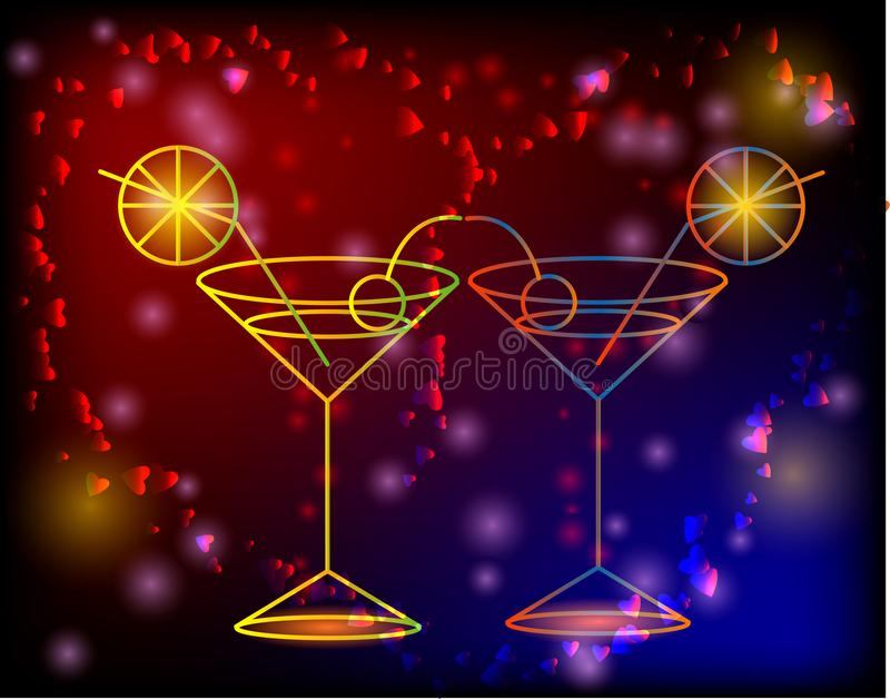 Esboço dourado dos vidros com um cocktail em um fundo cor-de-rosa com estrelas e luzes, disco, clube, fulgor de néon ilustração stock
