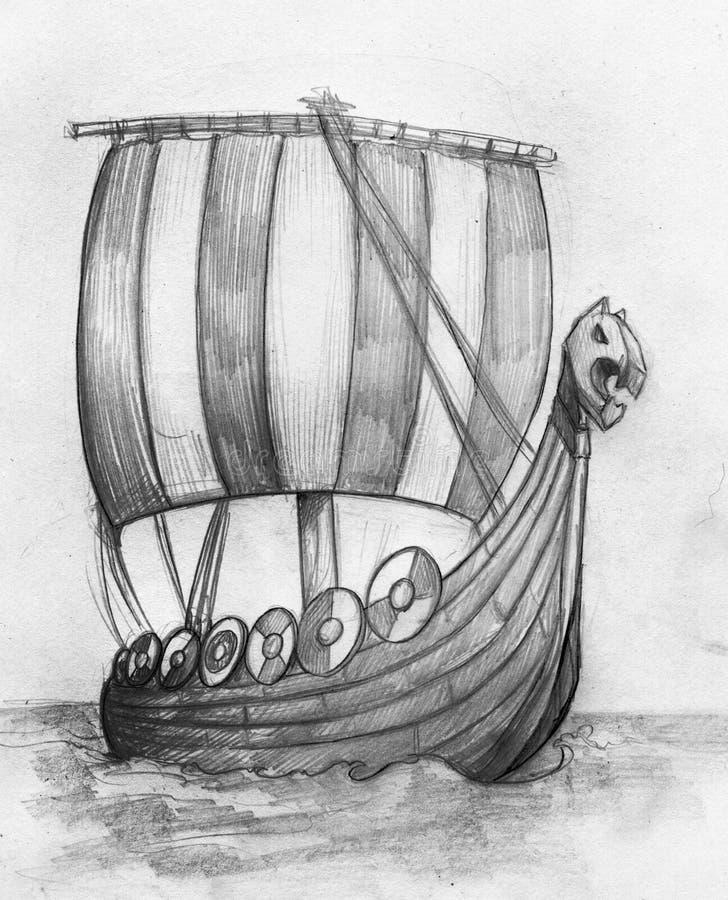 Esboço drakkar do navio de Viking ilustração stock