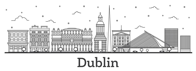 Esboço Dublin Ireland City Skyline com o isolador das construções históricas ilustração do vetor