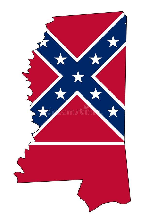 Esboço e bandeira do mapa do estado de Mississippi ilustração royalty free