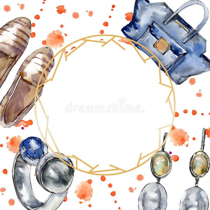 Esboço elegante em um elemento do estilo da aquarela Grupo da ilustração do fundo do Watercolour Quadrado de cristal da beira do  foto de stock