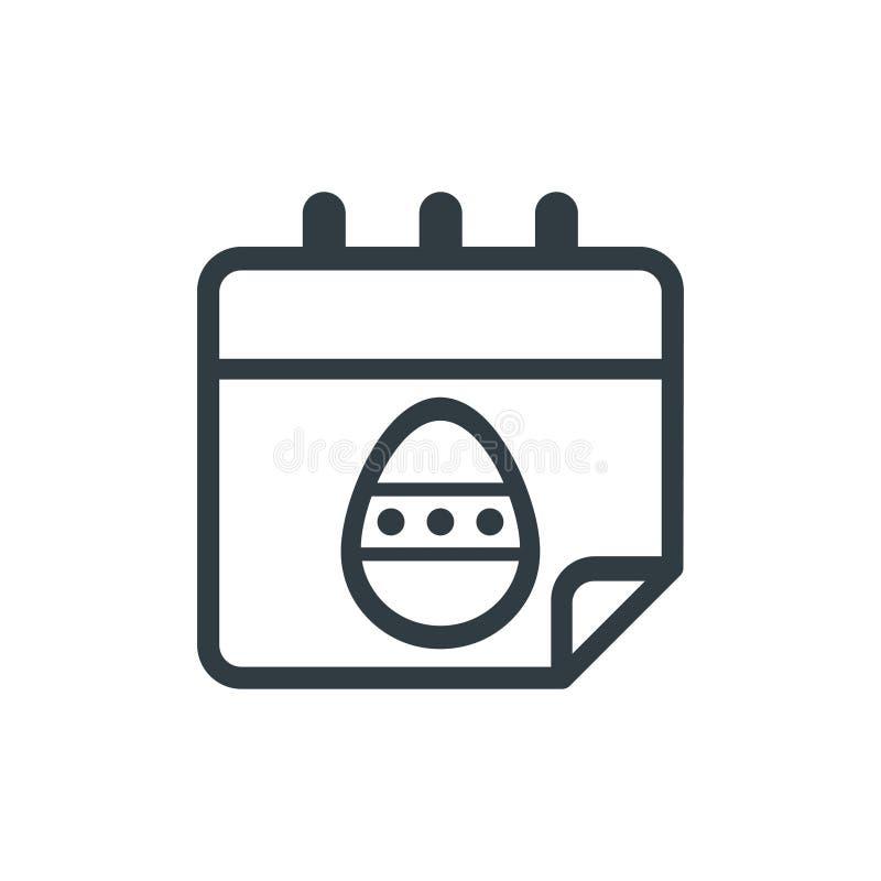 Esboço escuro do vetor do calendário do ovo da páscoa dos desenhos animados ilustração royalty free