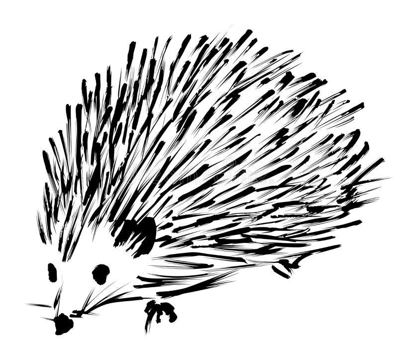 Esboço espontâneo do Hedgehog ilustração stock