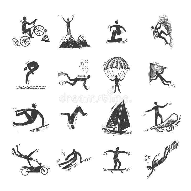 Esboço extremo dos ícones dos esportes ilustração stock