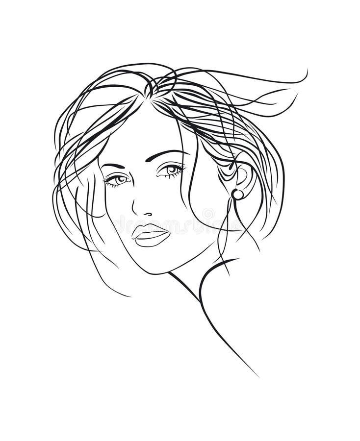 Esboço fêmea da face ilustração royalty free