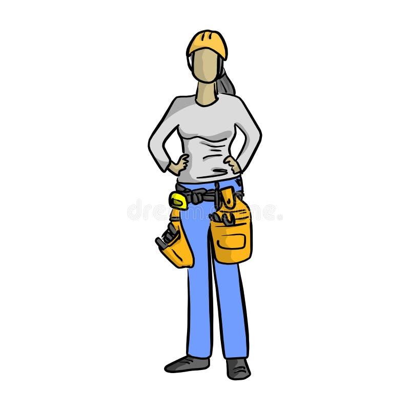 Esboço fêmea h da ilustração do vetor do trabalhador manual do mecânico ou do encanador ilustração do vetor