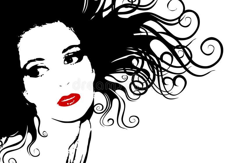 Esboço fêmea preto e branco da silhueta da face ilustração stock