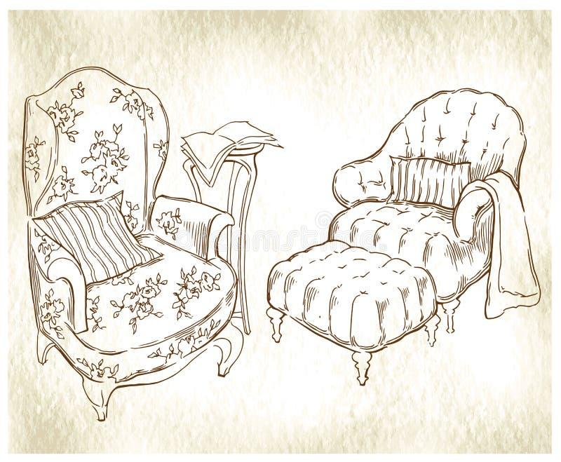 Esboço feito à mão de elementos interiores acolhedores ilustração stock
