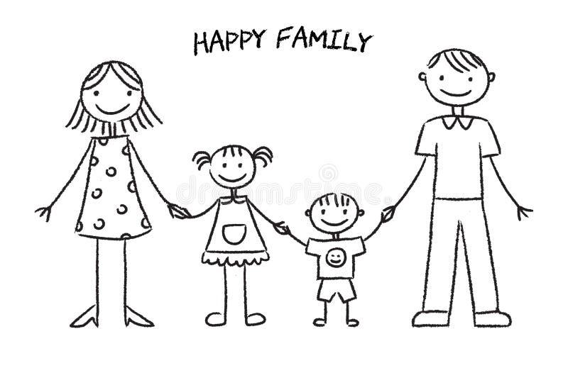 Esboço feliz da família