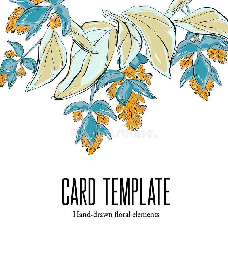 Esboço floral desenhado à mão botânico o convite do casamento, projeto do molde do cartão, o jardim branco de Havaí sae do fundo, ilustração royalty free