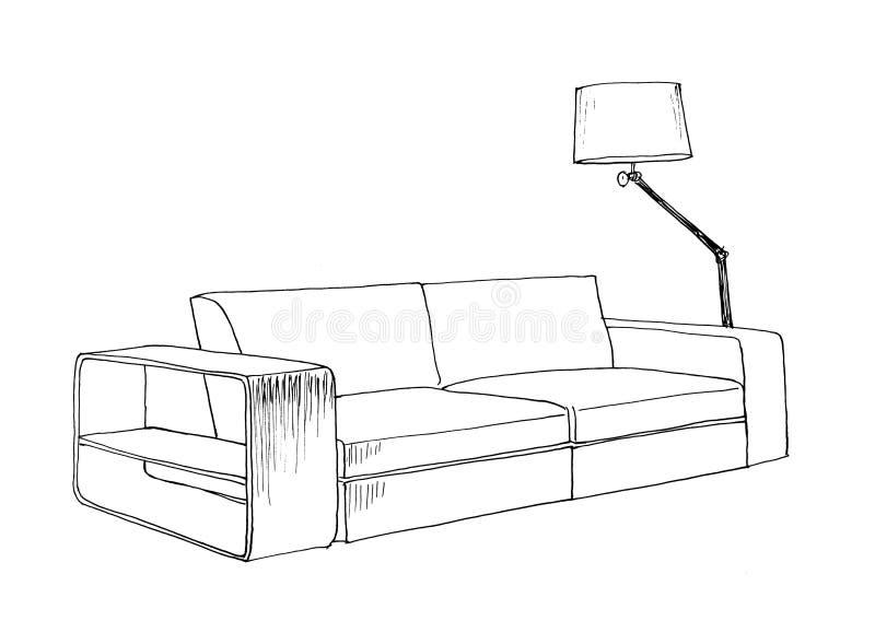 Esboço gráfico do sofá moderno ilustração do vetor