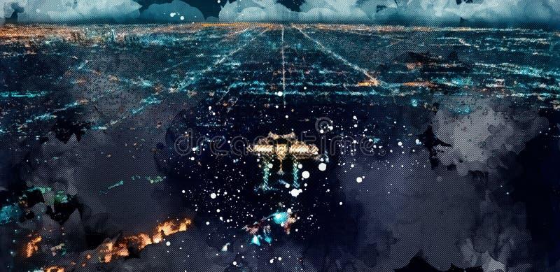 Esboço Griffith Park da vista aérea no LA ilustração royalty free