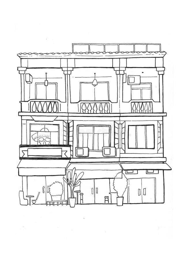 Esboço handdrawn de três casas cambojanas Arquitetura colonial europeia Esboço preto e branco do curso ilustração stock