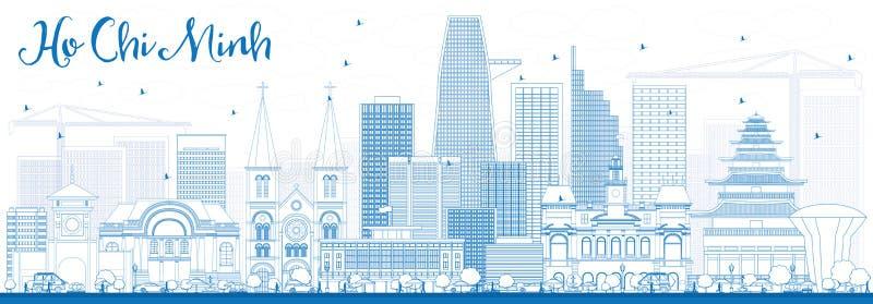 Esboço Ho Chi Minh Skyline com construções azuis ilustração do vetor