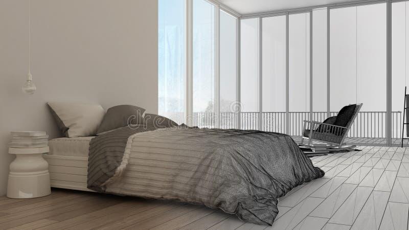 Esboço inacabado do projeto, quarto minimalista com a janela panorâmico grande, tapete e poltrona, hotel, termas, série do recurs imagem de stock