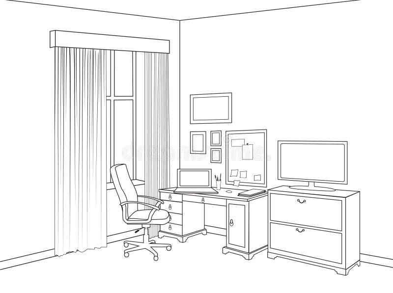 Esboço interior da sala do escritório domiciliário Projeto da mobília do esboço de ilustração royalty free