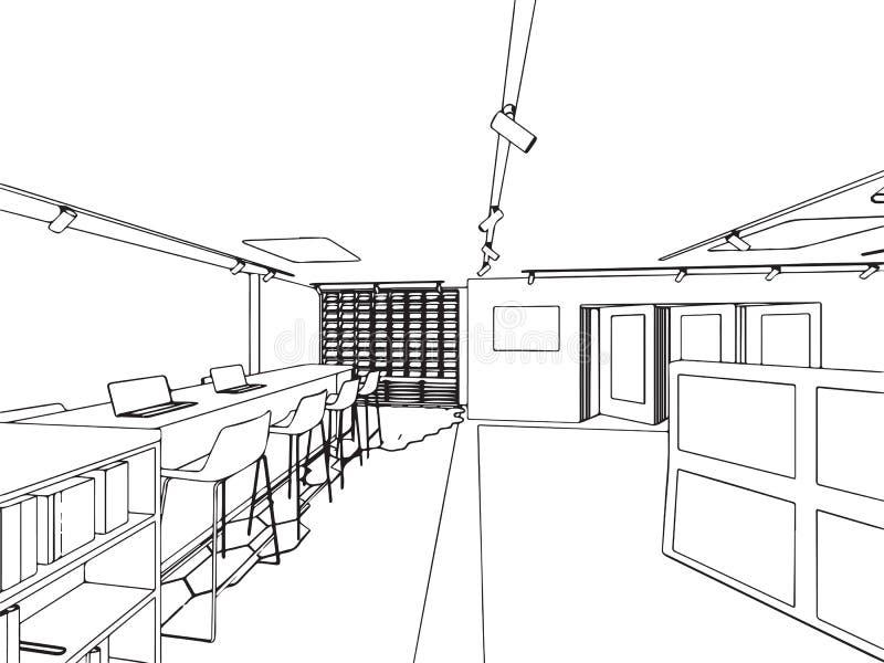 Esboço interior do desenho de esboço do offfice da sala de exposições ilustração stock