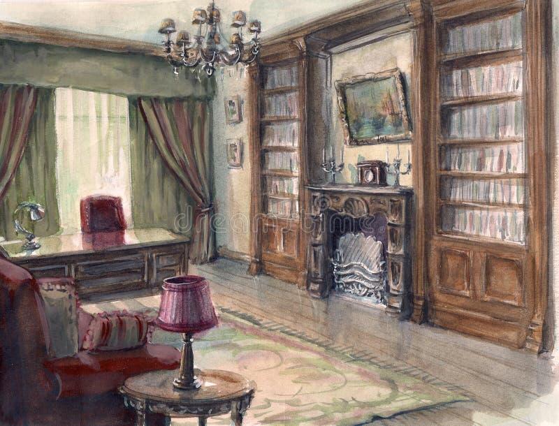 Esboço interior do gabinete ilustração stock